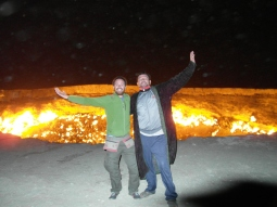 23 - Darvaza - With Ibrahim at the gas crater (hell's door)